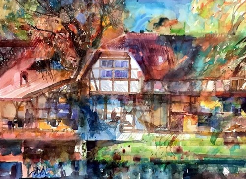 Living room painting by Krzysztof Ludwin titled The Backwater House