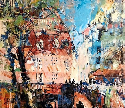 Living room painting by Krzysztof Ludwin titled Paris, Paris