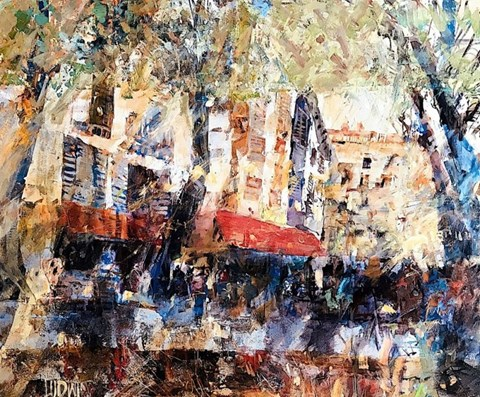 Living room painting by Krzysztof Ludwin titled French Holiday, Viva Paris Paris