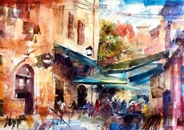 Living room painting by Krzysztof Ludwin titled Dubrovnik and Croatian Smiles