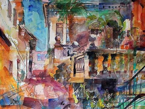 Obraz do salonu artysty Krzysztof Ludwin pod tytułem Siena. Gdzieś w uliczkach