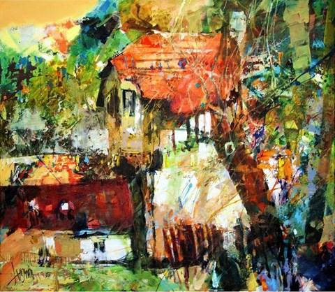 Obraz do salonu artysty Krzysztof Ludwin pod tytułem Łagów, ekspresja z domem szachulcowym