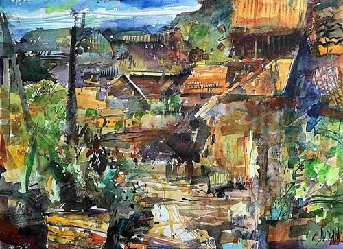 Obraz do salonu artysty Krzysztof Ludwin pod tytułem Przetykany kilim Lanckorony