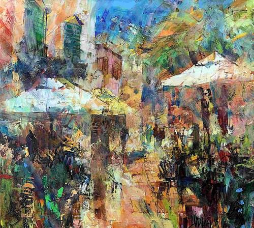 Obraz do salonu artysty Krzysztof Ludwin pod tytułem Barcelona. Plac parasoli i pomarańczy