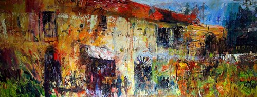 Living room painting by Krzysztof Ludwin titled Forgotten Houses, Tuscany