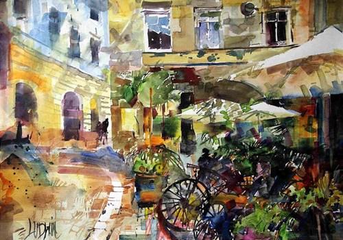 Obraz do salonu artysty Krzysztof Ludwin pod tytułem Z cyklu art deco, Kraków. Zaułek Tomasza