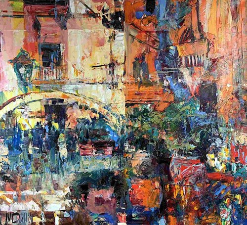 Obraz do salonu artysty Krzysztof Ludwin pod tytułem Z cyklu Art deco, Caltagirone, Sycylia i dusza rozdarta na dwoje