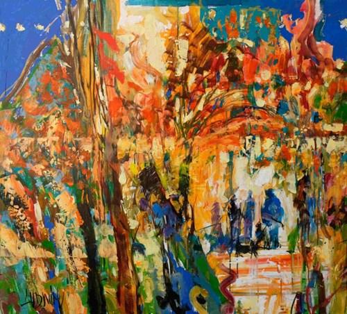 Obraz do salonu artysty Krzysztof Ludwin pod tytułem Rozmawialiśmy w parku. Czerwone i żółte liście szumiały