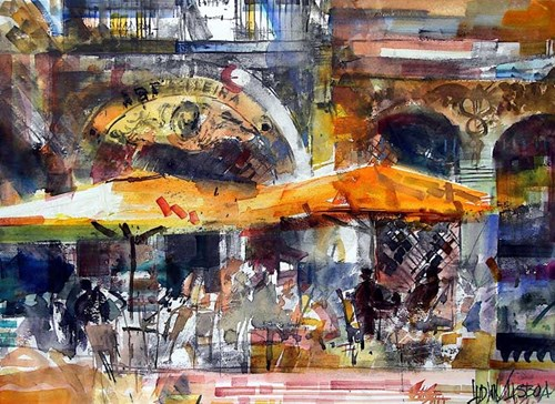 Obraz do salonu artysty Krzysztof Ludwin pod tytułem Szarości Lizbony z cyklu Nerwowy Ekspresjonizm