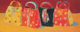 Obraz do salonu artysty Jolanta Caban pod tytułem Torebki na żółtym obrusie