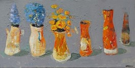 Obraz do salonu artysty Jolanta Caban pod tytułem Martwa natura z orlikami