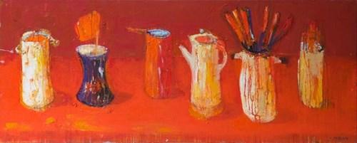 Obraz do salonu artysty Jolanta Caban pod tytułem Martwa natura z czerwonym rondelkiem