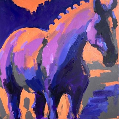 Obraz do salonu artysty Jędrzej Jarocki pod tytułem Koń - fiolet
