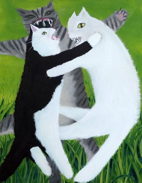 Obraz do salonu artysty Karolina Jabłońska pod tytułem Wściekłe koty II