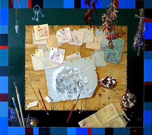Obraz do salonu artysty Aleksander Yasin pod tytułem Szkice artysty