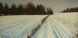 Living room painting by Konrad Hamada titled Winter