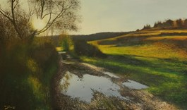 Living room painting by Konrad Hamada titled Road With Willows
