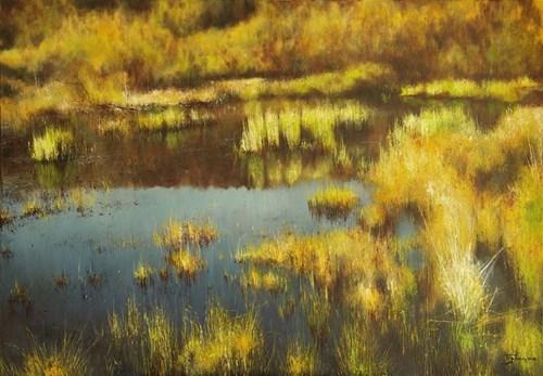 Living room painting by Konrad Hamada titled Wetlands in October