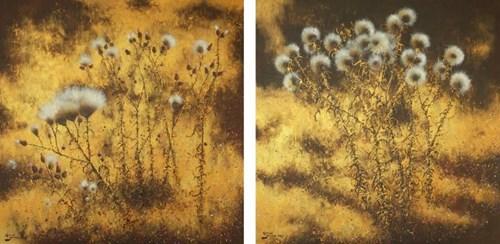 Obraz do salonu artysty Konrad Hamada pod tytułem Osty w złocie (dyptyk)