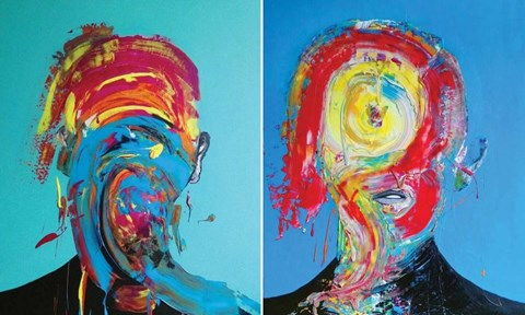 Living room painting by Magdalena Karwowska titled Untitled 8 and 11 (diptych)