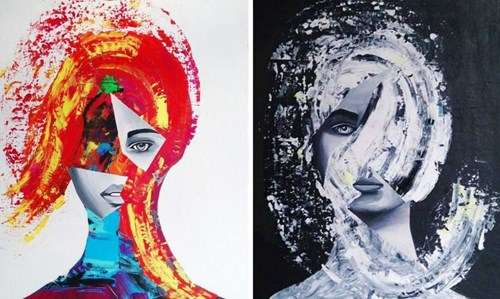 Living room painting by Magdalena Karwowska titled Untitled 5 & 6 (diptych)