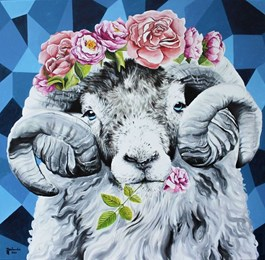 Obraz do salonu artysty Zuzanna Jankowska pod tytułem Na głowie kwietny ma wianek