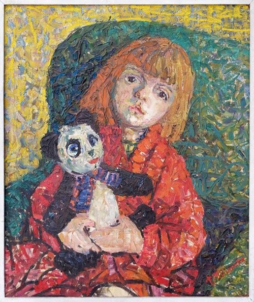 Obraz do salonu artysty Teodozja Młynarska pod tytułem Portret z miśkiem