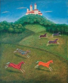 Obraz do salonu artysty Malwina de Brade pod tytułem Rycerskie konie
