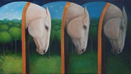 Living room painting by Malwina de Brade titled Horses