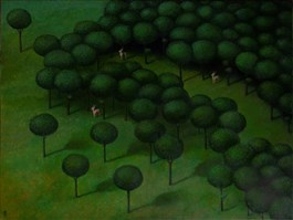 Living room painting by Malwina de Brade titled Forest Tales