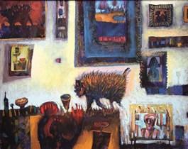 Obraz do salonu artysty Grzegorz Skrzypek pod tytułem Kotostworek we wnętrzu