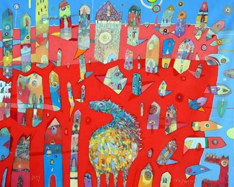 Obraz do salonu artysty Grzegorz Skrzypek pod tytułem Miejskie empanadas z kanarkowym słońcem