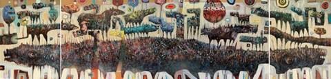 Obraz do salonu artysty Grzegorz Skrzypek pod tytułem Koniostworki (tryptyk)