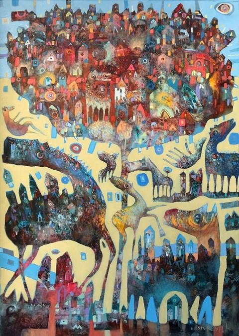 Obraz do salonu artysty Grzegorz Skrzypek pod tytułem Grawitodrzewko z zębatym koniostworkiem