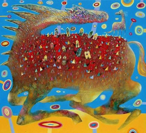 Obraz do salonu artysty Grzegorz Skrzypek pod tytułem Bajka o słodkich planetach