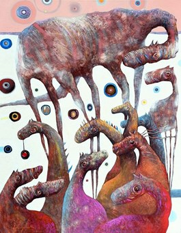 Living room painting by Grzegorz Skrzypek titled Horse-like creatures and Winter Planets