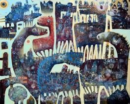 Obraz do salonu artysty Grzegorz Skrzypek pod tytułem Pistacjowe koniolody
