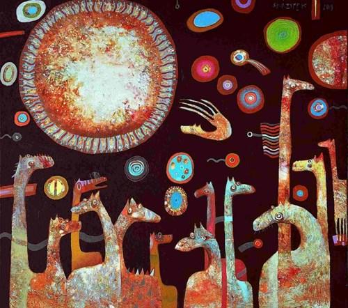 Obraz do salonu artysty Grzegorz Skrzypek pod tytułem W oczekiwaniu na piernikowe słońce