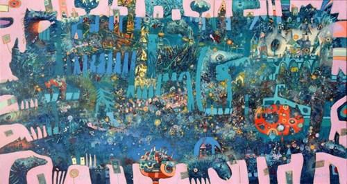 Obraz do salonu artysty Grzegorz Skrzypek pod tytułem Kompozycja otwarta z pomarańczowym drzewkiem