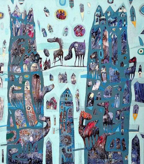 Obraz do salonu artysty Grzegorz Skrzypek pod tytułem Spotkanie na Tower Bridge
