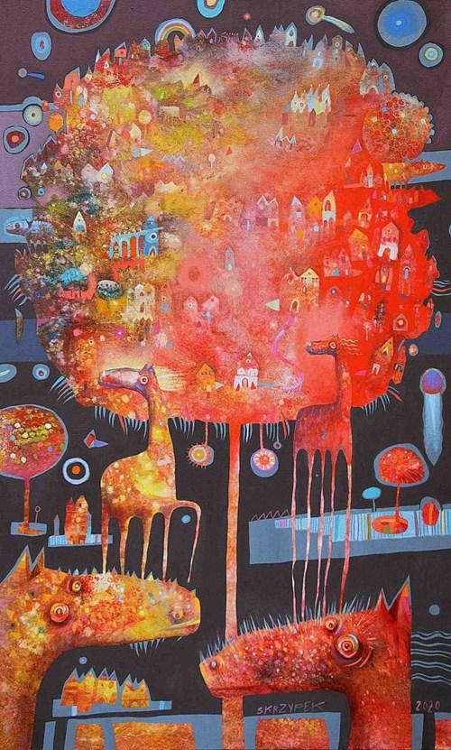 Obraz do salonu artysty Grzegorz Skrzypek pod tytułem Uroki malinowego wiatru