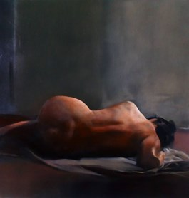 Living room painting by Jan Dubrowin titled Nude