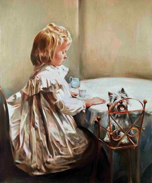 Obraz do salonu artysty Jan Dubrowin pod tytułem Herbatę podano