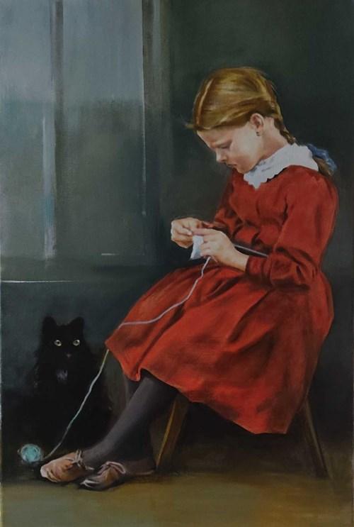 Obraz do salonu artysty Jan Dubrowin pod tytułem Kopciuszek, Włóczka