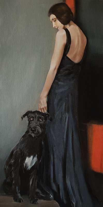 Obraz do salonu artysty Jan Dubrowin pod tytułem Grzeczny pies