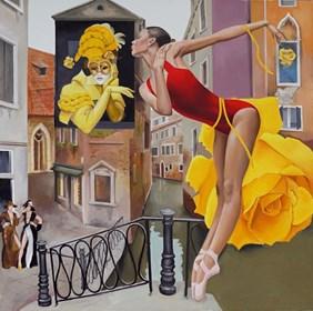 Living room painting by Andrejus Kovelinas titled Venetian Roses