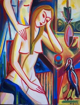 Obraz do salonu artysty Maciej Cieśla pod tytułem Kompozycja z dziewczynami, martwa naturą i krukiem