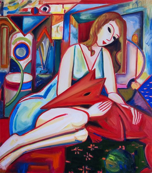Living room painting by Maciej Cieśla titled From the series, a composition with a girl and a dog