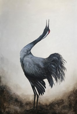 Living room painting by Klaudia Choma titled Crane