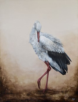 Living room painting by Klaudia Choma titled Stork